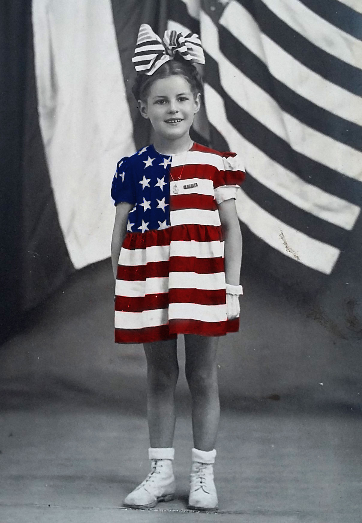 Danièle Patrix wearing her iconic American flag dress