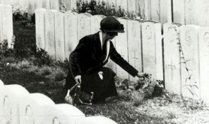 Identical tombstones mark the war graves of dead WWI soldiers