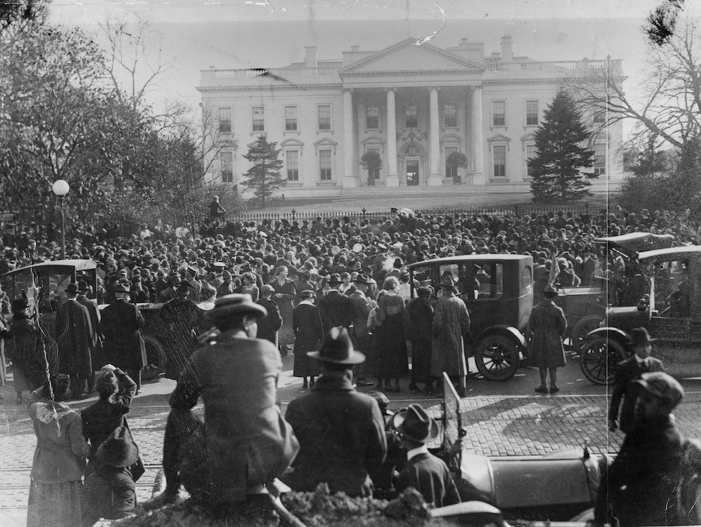 An Armistice scene outside the White House in Washington, D.C. GETTY IMAGES