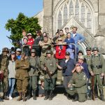 The Girl Who Wore Freedom crew in Normandy, France working with a group of re-enactors for the film. Photos courtesy of Savannah Woods