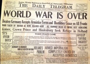 The Daily Telegram newspaper with the headline WORLD WAR IS OVER