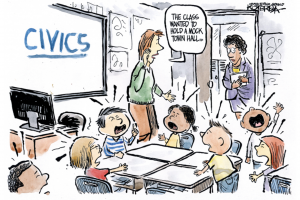 Editorial cartoon by Jeffrey Koterba of the Omaha World-Herald depicting a classroom discussing civics
