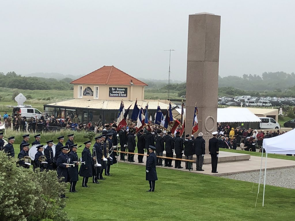 Jeff Kurtenacker, lead composer on The Girl Who Wore Freedom, attending a ceremony in Normandy