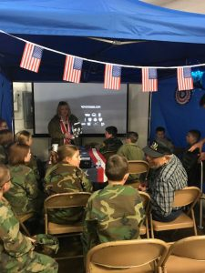 Christian Taylor, director of The Girl Who Wore Freedom introducing the story trailer to members of the Illinois Young Marines as they meeting with WWII Battle of the Bulge veteran.