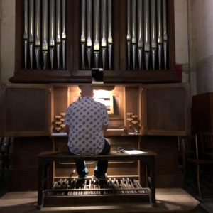Jeff Kurtenacker, lead composer on The Girl Who Wore Freedom, playing the organ