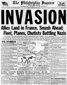 The Philadelphia Inquirer's headline WW2 D-Day Invasion from June 6 1944