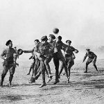 Armistice Day football match at Dale Barracks between german soldiers and Royal Welsh fusiliers to remember the famous Christmas Day truce between germany and Britain