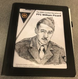 Photo of the book created by Footsteps Researchers for PFC William Picard