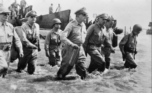 The iconic photo of MacArthur landing on Red Beach, October 20, 1944