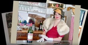 Woman wearing 40's era make up and clothing