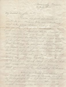 "A letter written from Normandy in 1944 from Joseph ""Allen"" Hopper to his daughter Patti"