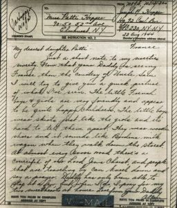 "A v-mail letter from 1944 sent from Joseph ""Allen"" Hopper to his daughter Patti"