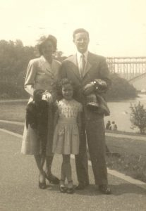 "Joseph ""Allen"" Hopper, wife Marian, and daughter Patti (age 8) after Allen's return home"