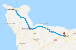 map showing path from Cherbourg to Caen that includes Carentan