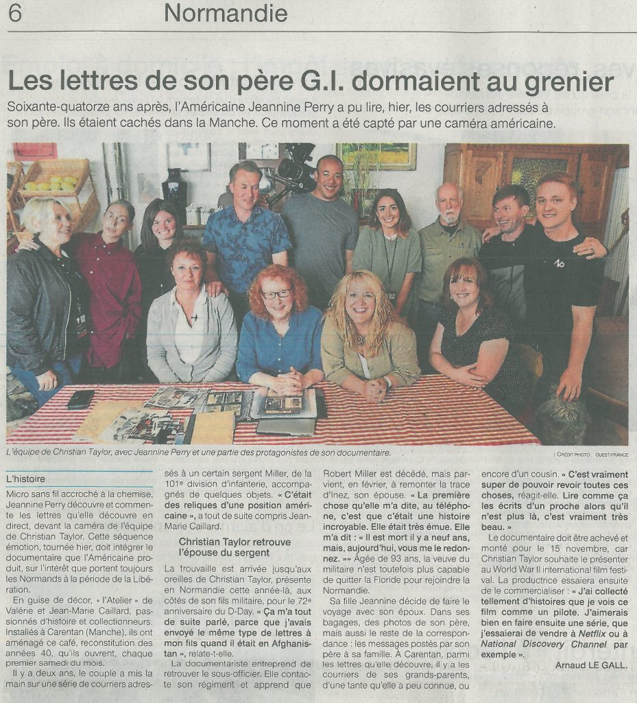 News article for The Letters of a GI Father LAtelier featuring Jean-Marie and the crew of The Girl Who Wore Freedom