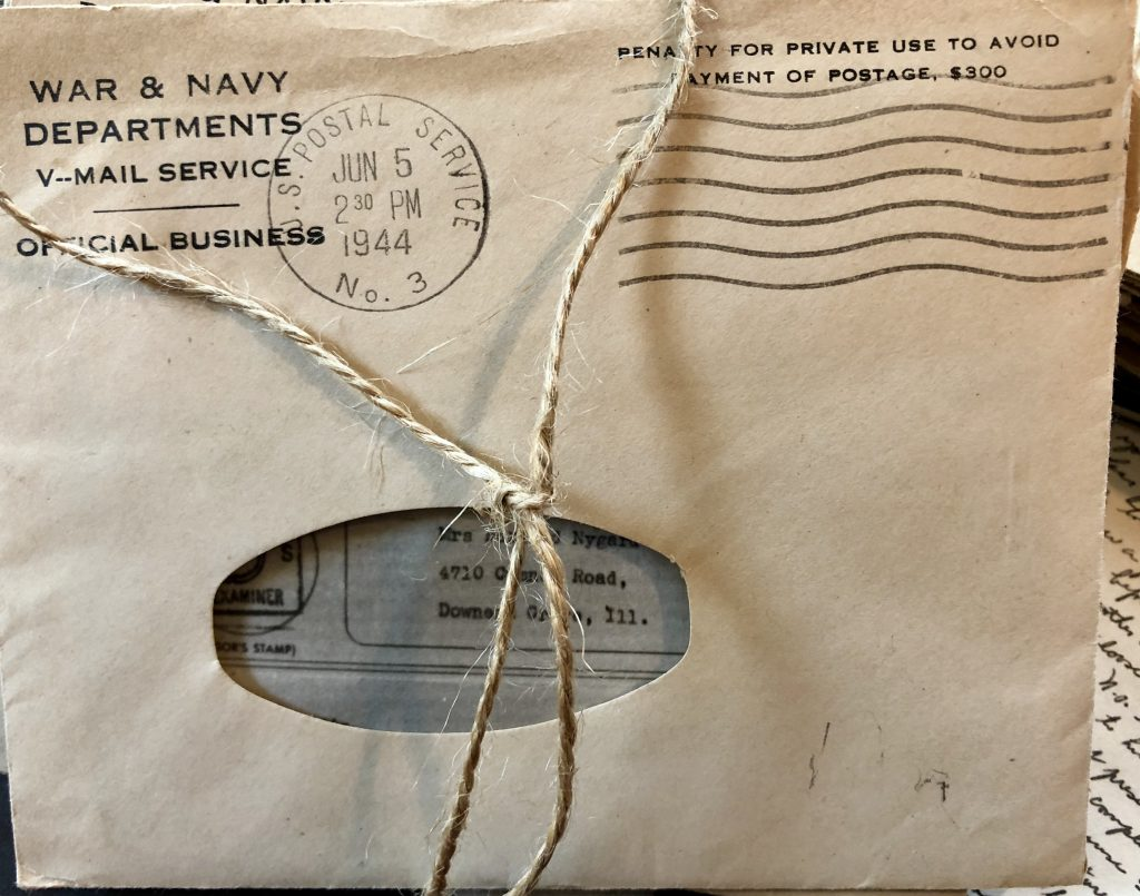 Close up image of a V-Mail envelope stamped with the year 1944