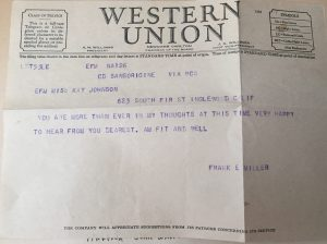 Frank Miller Western Union telegram