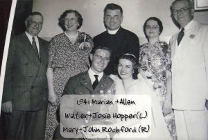 "A photo from 1941 at the wedding of Joseph ""Allen"" Hopper and Marian Rochford"