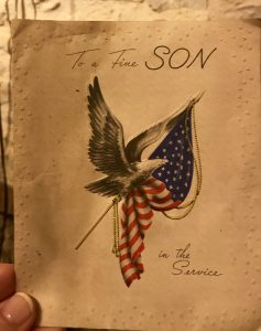 A card from WWII written from a mother and father to their son