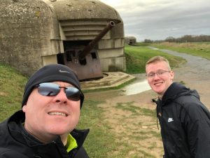 Boys Exploring the batteries at Normandy
