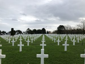 Cemetary in Normandy with hundreds of little white crosses