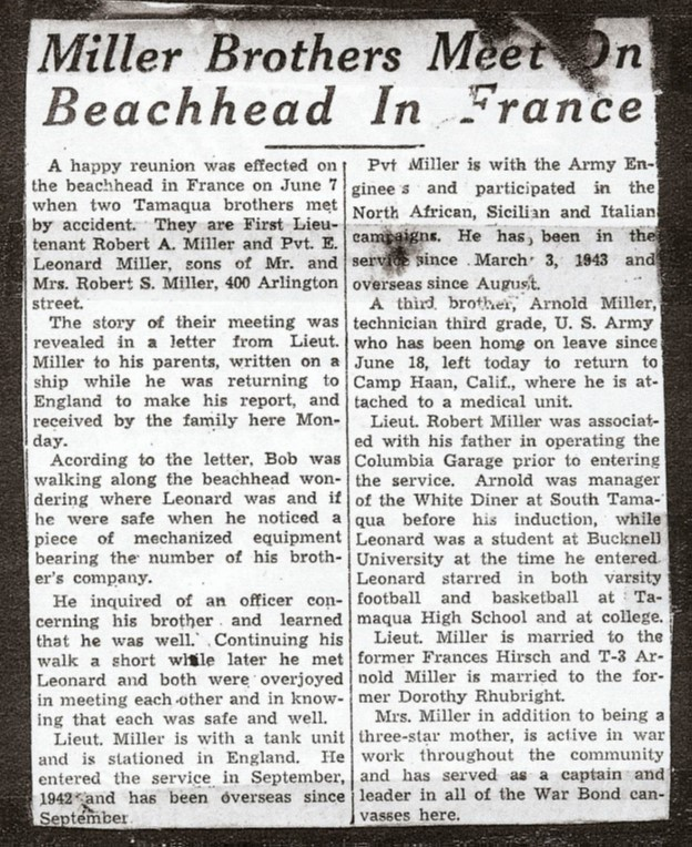 Newspaper clipping reporting the Miller Brothers meeting on the beaches of Normandy