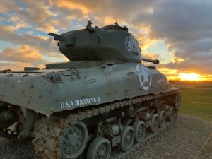 WWII tank on the beaches of Normandy