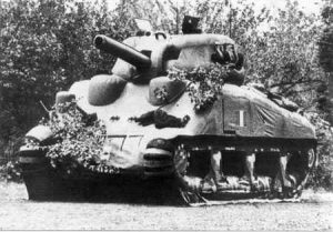 An inflated dummy Sherman tank