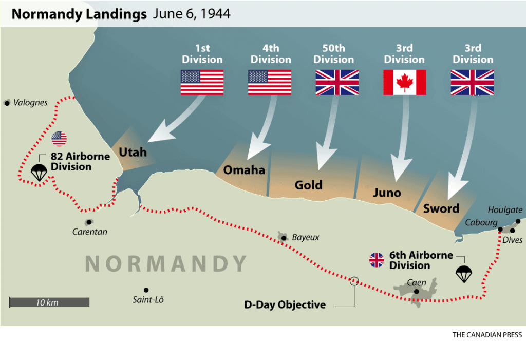 A map showing the various beaches that allied troops landed on