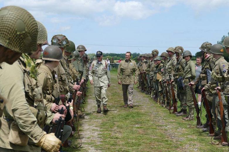 A line of reenactors in France