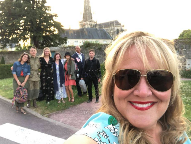 The Girl Who Wore Freedom crew in Normandy with Director Christian Taylor front and center