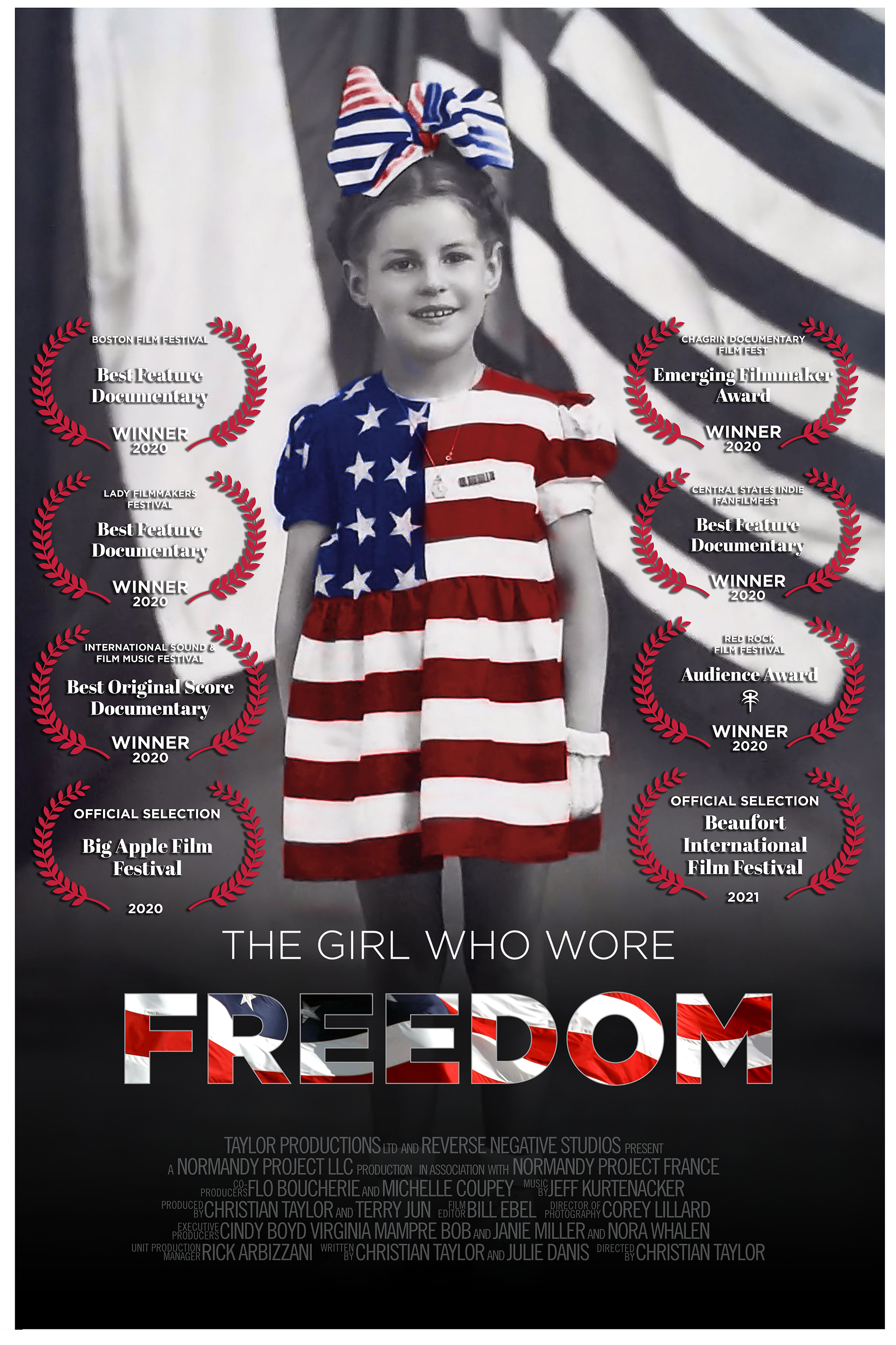 The movie poster of The Girl Who Wore Freedom with the laurels and awards that the film has received in a vertical format